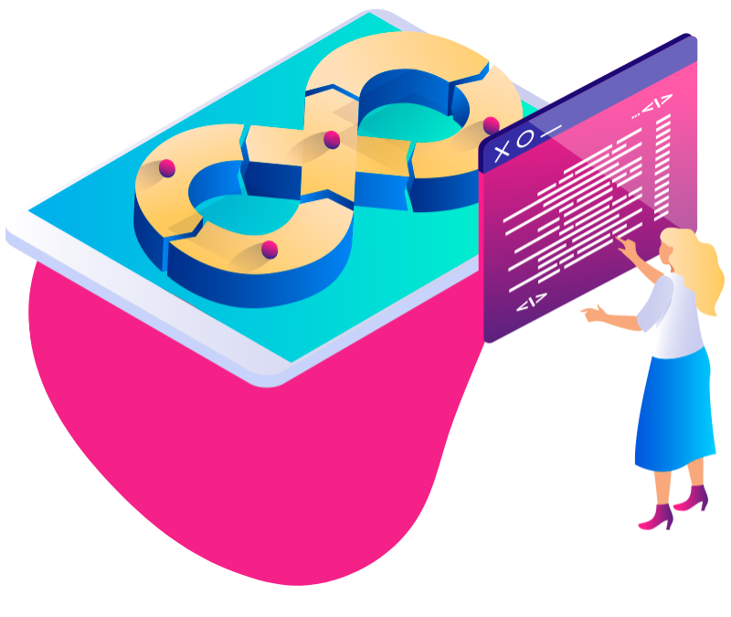 colorful woman coding in front of tablet