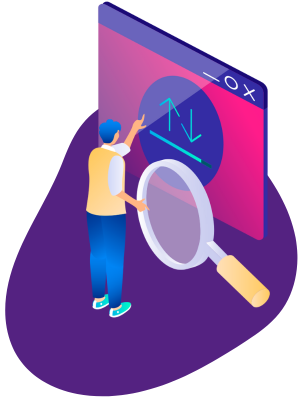 IT student with magnifying glass pointing at screen